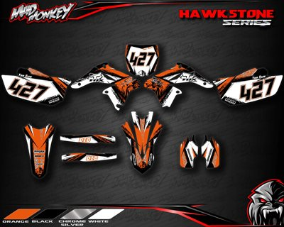Hawkstone Yamaha MX stickers i sort, hvid, orange og sølv.