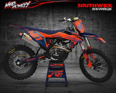 Southwick KTM MX stickers med fluo orange krom blå, mørk blå. Højre side